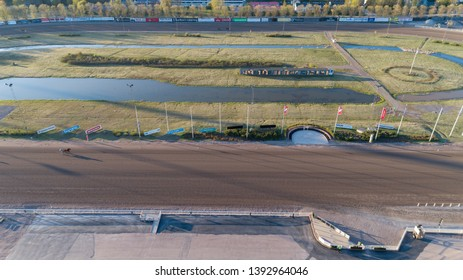 Espoo, Finland - May 8 2019: Aerial drone bird's eye view of public Hippodrome facilities located in Espoo.