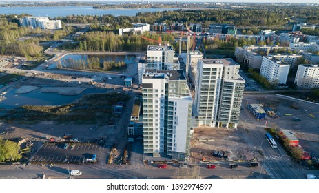 Espoo, Finland - May 8, 2019: Cityscape view from above of large contruction site at the Espoo near capital city of Finland.