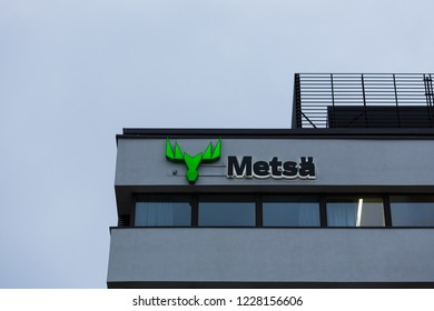 ESPOO, FINLAND - NOVEMBER 11, 2018: METSÄ GROUP logo in the wall of their headquarters in Espoo Finland
