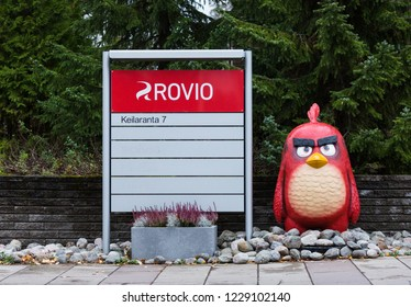 ESPOO, FINLAND - NOVEMBER 11, 2018: ANGRY BIRDS in front of ROVIO ENTERTAINMENT headquarters in Espoo Finland