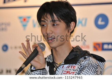 ESPOO, FINLAND - OCT 05: Yuzuru Hanyu of Japan, winner of Finlandia Trophy 2012, at the press conference after the Men's Short Program on October 05, 2012 in Espoo, FInland