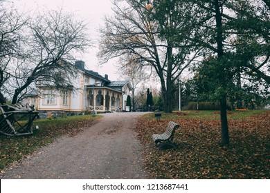 ESPOO, FINLAND - october 27, 2018: The Akseli Gallen-Kallela Museum. Near Helsinki. Akseli Gallen-Kallela (1865-1931) is national finnish painter, best known for his  illustrations to the Kalevala