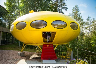 ESPOO, FINLAND - SEP 02, 2018: The utopian plastic house Futuro, designed by Finnish architect Matti Suuronen in Espoo Museum of Modern Art