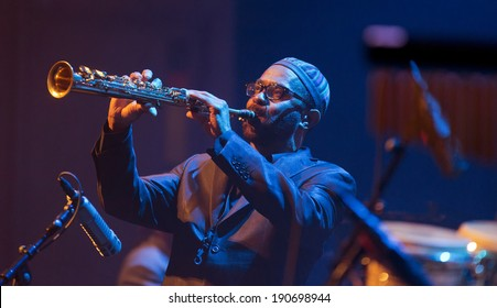 ESPOO, FINLAND-APRIL  24 2014:American Kenny Garrett performs live on 28th April Jazz.He is a Grammy Award-winning jazz saxophonist and was a member of Duke Ellington Orchestra &  Miles Davis's band