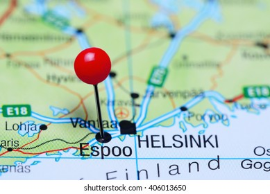 Espoo pinned on a map of Finland