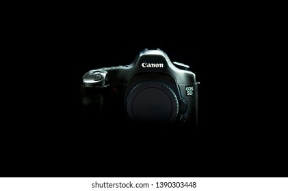 Espoo, Uusimaa / Finland - April 22nd 2019: A photo of the Canon 5D in the dark