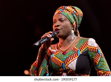 ESPOO,FINLAND - APRIL  27, 2014 Angelique Kidjo performs live on 28th April Jazz. She is a Grammy Award winning Beninoise singer-songwriter and an ambassador of goodwill for UNICEF.