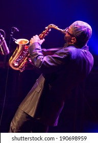 ESPOO,FINLAND-APRIL  24 2014:American Kenny Garrett performs live on 28th April Jazz.He is a Grammy Award-winning jazz saxophonist and was a member of Duke Ellington Orchestra &  Miles Davis's band