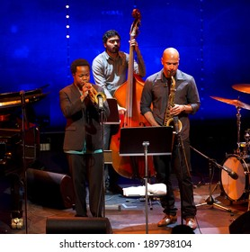 ESPOO,FINLAND-APRIL  26,2014 Ambrose Akinmusire  Quintet performs live on 28th April Jazz. He won 2012 DownBeat Critics Poll for Best Jazz Trumpet and Thelonious Monk International Jazz Competition