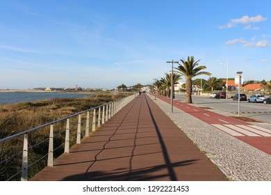 Esposende / Portugal - January 21, 2019: Bike lane of riverfront Esposende, Portugal.