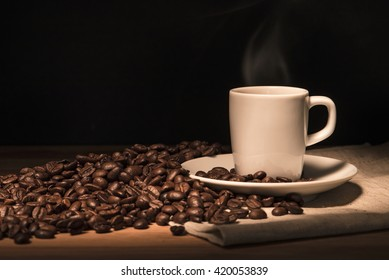 Espresso coffee with beans