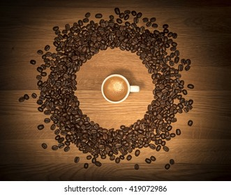 Espresso coffee with beans (top view, flat-lay)