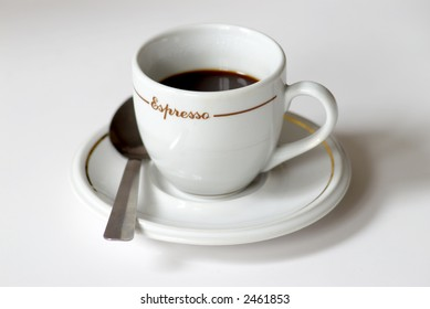 espresso coffee cup with saucer and spoon