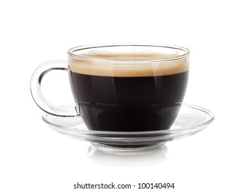 Espresso coffee in glass cup. Isolated on white background