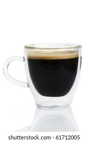 espresso coffee in a glass cup on white background