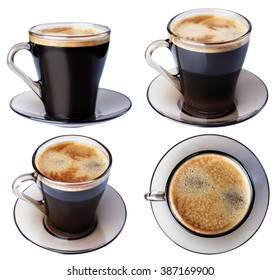 Espresso coffee in a glass dish, isolate on a white background, closeup in a variety of ways.
