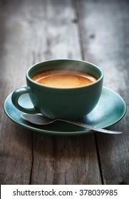 Espresso coffee in a green cup,selective focus