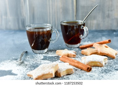"espresso coffee and Italian biscuits "" biscotti "", the preparation for Christmas 2019 and the new yea"