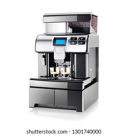 Espresso Coffee Machine with Drip Tray Isolated on White. Black and Steel Automatic Coffee Maker with Two Cups. Domestic and Household Appliances. Electric Coffee-Maker with Touch-Screen Display