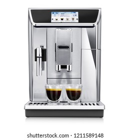 Espresso Coffee Machine Isolated on White. Front View Stainless Steel Coffee Maker with Two Cups of Coffee. Domestic and Household Appliances. Electric Kitchen Coffee-Maker with a Touch-Screen Display
