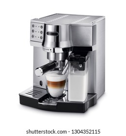 Espresso Coffee Machine Isolated on White. Black and Steel Automatic Coffee Maker with Cup. Electric Coffee-Maker. Domestic and Household Appliances