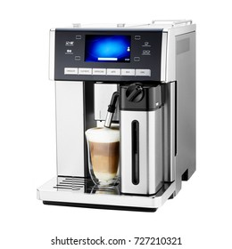 Espresso Coffee Machine Isolated on White Background. Stainless Steel Coffee Maker with a Cup of Cappuccino. Espresso Machine. Domestic Appliances. Household Appliances. Electric Kitchen Appliances
