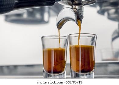 espresso coffee shot with beautiful crema