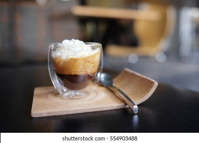 Espresso con panna coffee. Espresso con panna, which means espresso with cream in Italian, is a single or double shot of espresso topped with whipped cream.