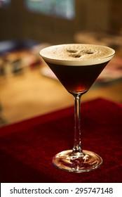 espresso expresso coffee martini cocktail in bar