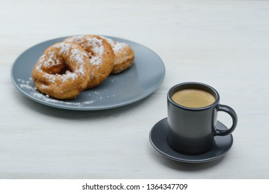 espresso with hot donuts