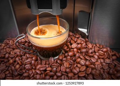 Espresso machine making coffee, coffee beams background