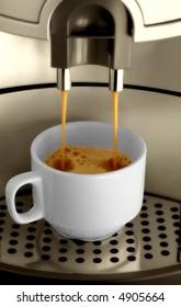 Espresso machine pouring espresso into a cup