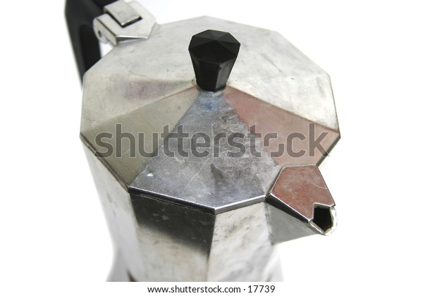 An espresso maker viewed from above, close up.