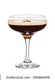 Espresso Martini. Alcohol cocktail isolated on white background