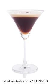 espresso martini cocktail isolated on white.