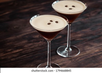 Espresso Martini cocktails garnished with coffee beans