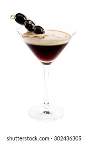 Espresso martini with olives isolated
