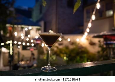 Espresso Martini in a outdoors bar