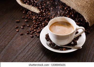 espresso on the wooden table