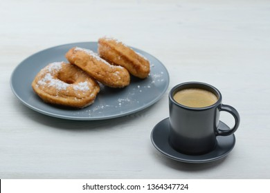 espresso with sweet donuts