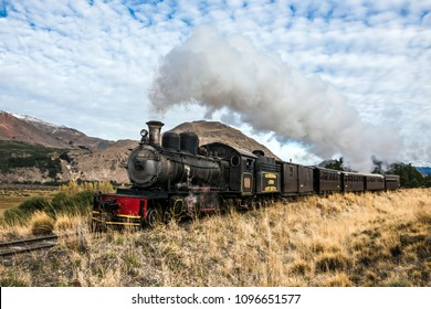 Esquel, Argentina - April 28, 2018: La Trochita (official name: Viejo Expreso Patagonico), the Old Patagonian Express, is a 750 mm (2 ft 5 1?2 in) narrow gauge railway in Patagonia