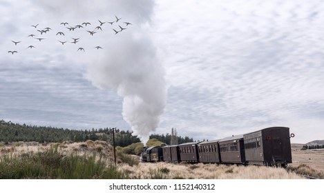 Esquel, Argentina - April 28, 2018: La Trochita (official name: Viejo Expreso Patagonico), in English known as the Old Patagonian Express, with steam locomotives