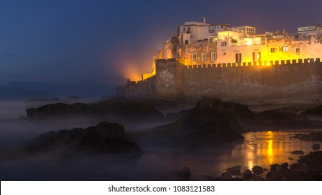 Essaouira castle and port on the Atlantic coast in Morocco, North Africa at night