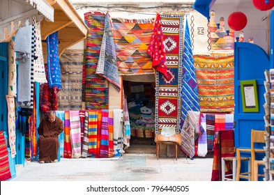 ESSAOUIRA - JAN 05: Traditional Moroccan street market or souk in the old part of Essaouira medina on January 05. 2018 in Morocco