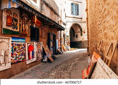 ESSAOUIRA, MOROCCO. 12 th June, 2017: colorful handricrafts at moroccan shop in essaouita