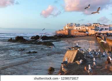 ESSAOUIRA, MOROCCO - 6 APRIL, 2018: Dozens of tourists and locals come in the evening to enjoy the sunset at the old walls of Essaouira fortress in Morocco
