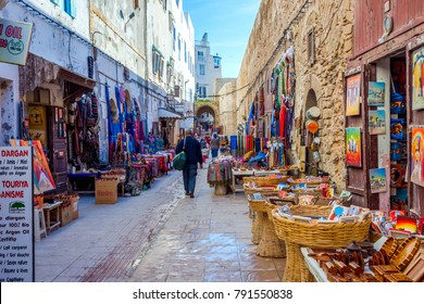 ESSAOUIRA, MOROCCO - DECEMBER 13: Shops with crafts in Essaouira old town. December 2016