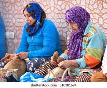 ESSAOUIRA, MOROCCO - JANUARY 15, 2014: Berber women have formed co-ops to produce and sell argan.