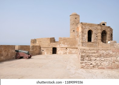 Essaouira, Morocco -july 05, 2015: View of the upper esplanade with battlements and old cannons in the fortress built by Portuguese at the entrance of the port of the historic city of Mogador