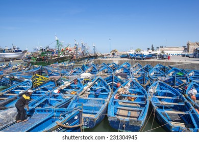 ESSAOUIRA, MOROCCO, MARCH 14, 2014. Fishing boats in the fishermen's port in Essouira Morocco, on March 14th, 2014.